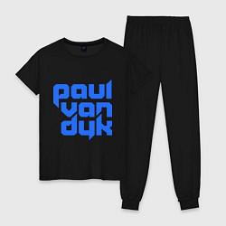 Пижама хлопковая женская Paul van Dyk: Filled цвета черный — фото 1