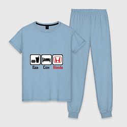 Пижама хлопковая женская Главное в жизни - еда, сон, honda цвета мягкое небо — фото 1