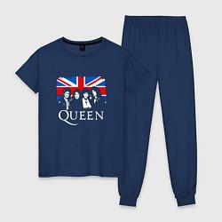 Пижама хлопковая женская Queen UK цвета тёмно-синий — фото 1