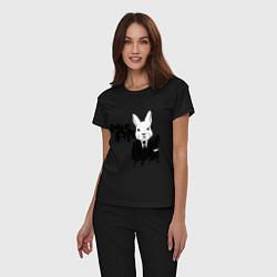 Пижама хлопковая женская Misfits Rabbit цвета черный — фото 2