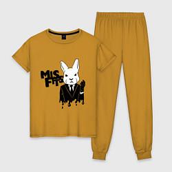 Пижама хлопковая женская Misfits Rabbit цвета горчичный — фото 1