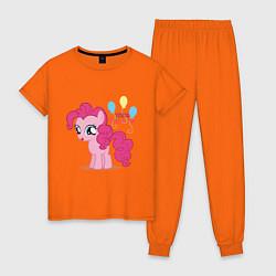 Пижама хлопковая женская Young Pinkie Pie цвета оранжевый — фото 1