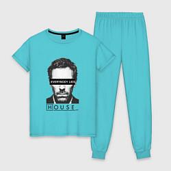 Пижама хлопковая женская Everyboy Lies цвета бирюзовый — фото 1