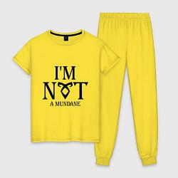 Пижама хлопковая женская I'm not a mundane цвета желтый — фото 1