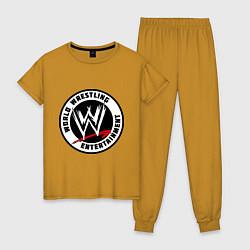 Пижама хлопковая женская World wrestling entertainment цвета горчичный — фото 1