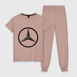 Пижама хлопковая женская Mercedes-Benz logo цвета пыльно-розовый — фото 1