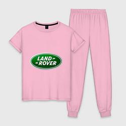 Пижама хлопковая женская Logo Land Rover цвета светло-розовый — фото 1