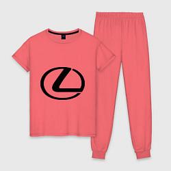Пижама хлопковая женская Logo lexus цвета коралловый — фото 1