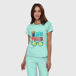 Пижама хлопковая женская С днем учителя цвета мятный — фото 2