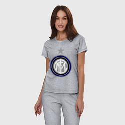 Пижама хлопковая женская Inter FC цвета меланж — фото 2