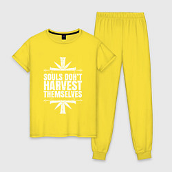 Пижама хлопковая женская Harvest Themselves цвета желтый — фото 1