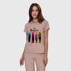 Пижама хлопковая женская Walking Beatles цвета пыльно-розовый — фото 2