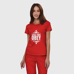 Пижама хлопковая женская Trust pray Obey цвета красный — фото 2