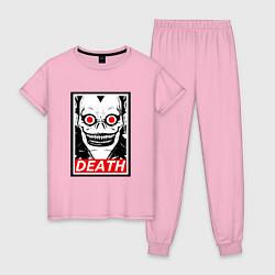 Пижама хлопковая женская Death Obey цвета светло-розовый — фото 1