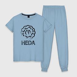 Пижама хлопковая женская Heda цвета мягкое небо — фото 1