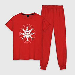 Пижама хлопковая женская TES: Mages Guild цвета красный — фото 1