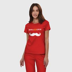 Пижама хлопковая женская Brazzers Mister цвета красный — фото 2