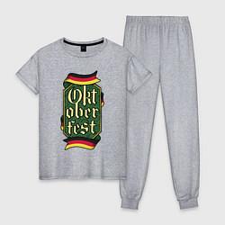 Пижама хлопковая женская Oktoberfest Germany цвета меланж — фото 1