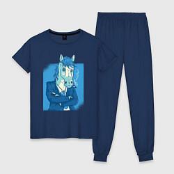 Пижама хлопковая женская Лошадь-бизнесмен цвета тёмно-синий — фото 1