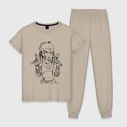 Пижама хлопковая женская Yo-landi цвета миндальный — фото 1