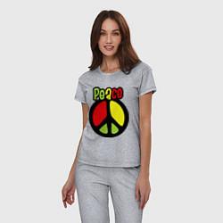 Пижама хлопковая женская Peace tricolor цвета меланж — фото 2