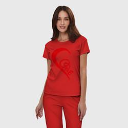 Пижама хлопковая женская One love: for his цвета красный — фото 2