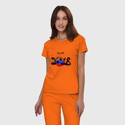Пижама хлопковая женская Russia цвета оранжевый — фото 2