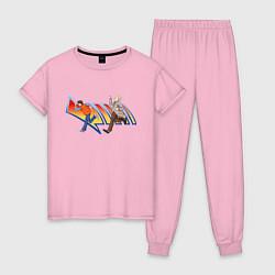 Пижама хлопковая женская Док и Марти цвета светло-розовый — фото 1