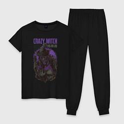 Пижама хлопковая женская Ведьма цвета черный — фото 1