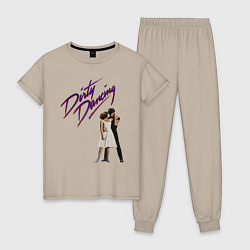 Пижама хлопковая женская Dirty Dancing цвета миндальный — фото 1