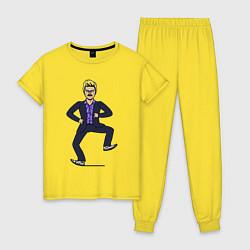 Пижама хлопковая женская Little Big цвета желтый — фото 1