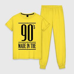 Пижама хлопковая женская Made in the 90s цвета желтый — фото 1