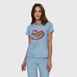 Пижама хлопковая женская Любимый муж цвета мягкое небо — фото 2