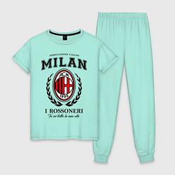 Пижама хлопковая женская Milan: I Rossoneri цвета мятный — фото 1