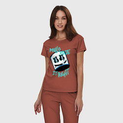 Пижама хлопковая женская Mello Made it Right цвета кирпичный — фото 2