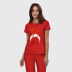 Пижама хлопковая женская Gojira: Evil Demon цвета красный — фото 2