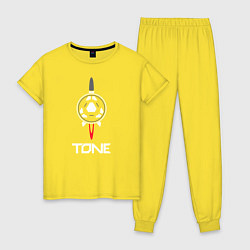 Пижама хлопковая женская TONE цвета желтый — фото 1