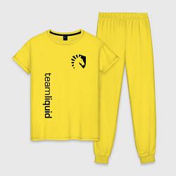 Пижама хлопковая женская TEAM LIQUID цвета желтый — фото 1