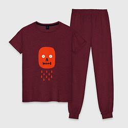 Пижама хлопковая женская Кнопка психодел цвета меланж-бордовый — фото 1