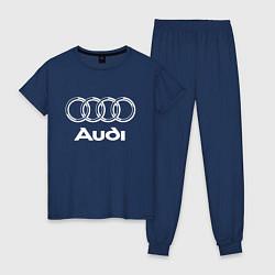 Пижама хлопковая женская AUDI цвета тёмно-синий — фото 1