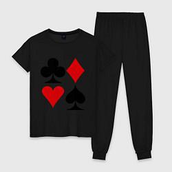 Пижама хлопковая женская Масти карт цвета черный — фото 1