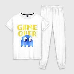 Пижама хлопковая женская Pac-Man: Game over цвета белый — фото 1