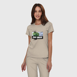 Пижама хлопковая женская Hulk Smash! цвета миндальный — фото 2