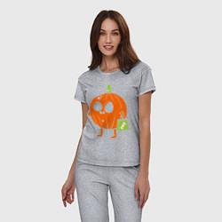 Пижама хлопковая женская Тыква с пакетом цвета меланж — фото 2