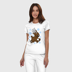 Пижама хлопковая женская Олень и снежинки цвета белый — фото 2