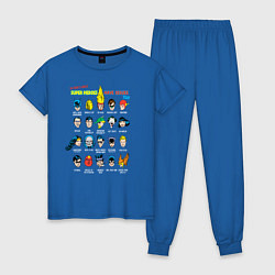Пижама хлопковая женская Super heroes have issues too цвета синий — фото 1