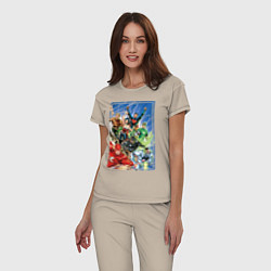 Пижама хлопковая женская Лига Справедливости цвета миндальный — фото 2