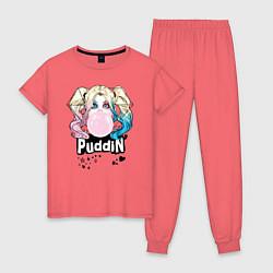 Пижама хлопковая женская Puddin' цвета коралловый — фото 1