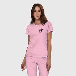 Пижама хлопковая женская Всадник на коне цвета светло-розовый — фото 2