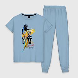 Пижама хлопковая женская Born Freedom цвета мягкое небо — фото 1